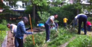 Ouders werken in de tuin